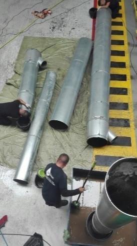 Instalación de sistemas de extracción de humos – Conductos desmontados antes de su instalación